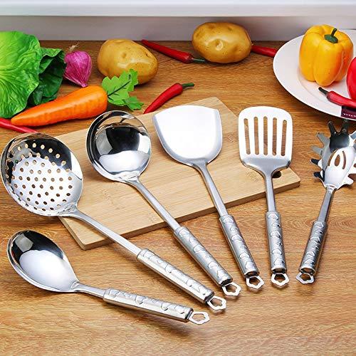 GEQWE Kitchen Utensils Cooking Utensils Set Kitchen Utensils Shovel Non-Stick Easy to Clean Special Set Spatula Pot Spoon Shovel Spoon Set 7pcs Kitchen Tool Color  Silver Size  One Size