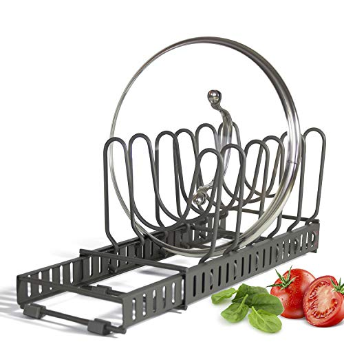 Expandable Lid Holder with 10 Adjustable Dividers Store 9 Lids Separable into 2 Organizers Can Be Extended to 2225 Kitchen Cookware Pan Pot Lid Organizer Rack Pantry