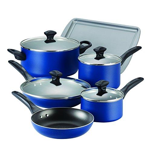 Farberware Dishwasher Safe Nonstick Aluminum 15-Piece Cookware Set Blue