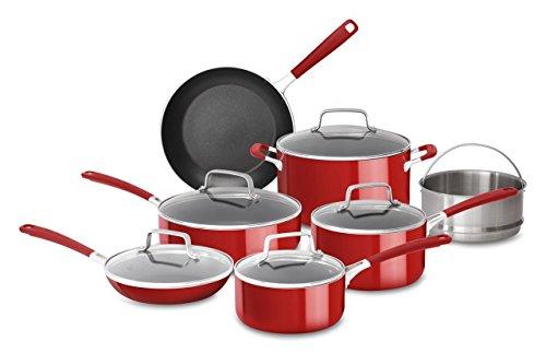 KitchenAid KC2AS12ER Aluminum Nonstick 12 Piece Cookware Set Empire Red