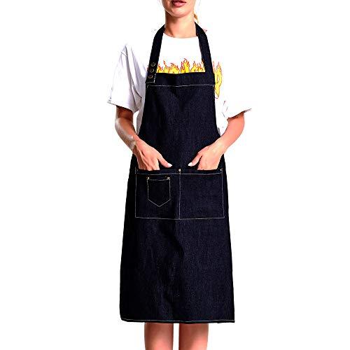 1 Pack Pre-Washed Super Soft Adjustable Denim Apron with Multi Pocket Multipurpose Kitchen Chef Cafe Restaurant Barbecue Grill Workshop Hairdresser Woodwork Unisex Denim