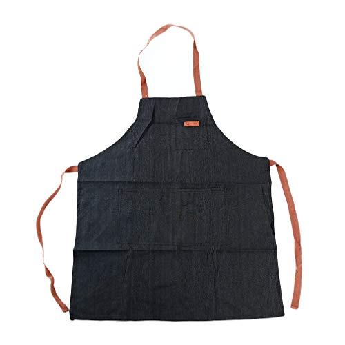 lehao397 Hanging Neck Denim Apron Adjustable Coffee Shop Fashion Restaurant Work Garden Dress ApronBlack