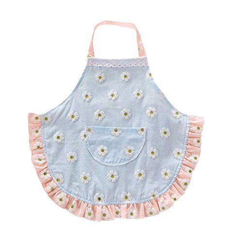 CRB Fashion Childrens Little Chef Flower Floral Ruffle Girls Toddler Kids Apron with Pockets 2T to 3T Blue