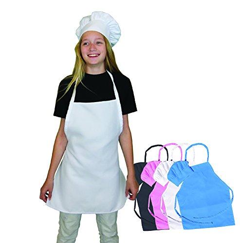 Chefocity Kids Apron and Chef Hat Set - Adjustable Hat Fits Childs Size Medium 6-12 White