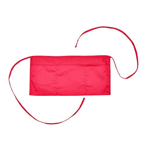 Waist Aprons Commercial Restaurant Home Bib Spun Poly Cotton Kitchen 3 Pocketsin Red