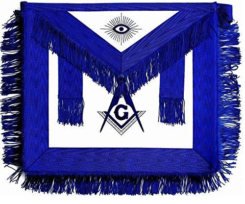 DEURA Masonic Blue Lodge Master Mason FRINGE Synthetic LEATHER Apron EMBROIDERED Square Compass 16 X 14