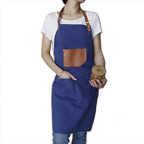 ReLU House Aprons for Women and Men - Canvas Cotton Adjustable Leather Strap Apron with Leather Pocket and Center Pockets Blue