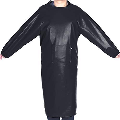 TINTON LIFE Warm Long Men PU Leather Apron with Pocket Waterproof Smocks Long Sleeves Kitchen Dishwashing Working Uniform Black