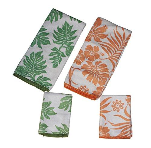 Orange Green flower 4 Piece Set Microfiber Kitchen Towels and Dish Cloths