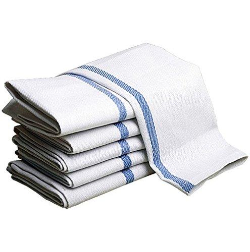 Herringbone Blue Center Striped Kitchen Towels 100 Cotton 24 Pack