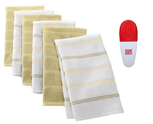 Khaki Solid Striped Kitchen 6 Pack Towels Chip Clip - 2 Item Gift Set