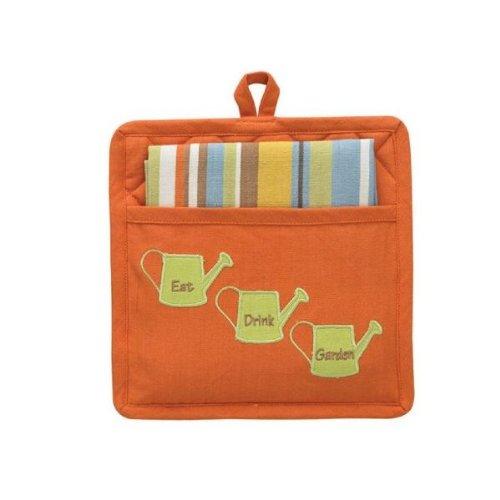 Kitchen Dishtowel and Potholder Gift Set Garden Design Potholder with Striped Kitchen Towel - Eat Drink Garden - Hostess Gift Idea