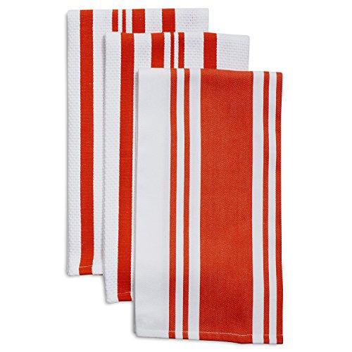 Sur La Table Striped Kitchen Towels 28 x 20 Set of 3 Orange