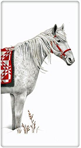 Holiday Blanket White Horse 100 Cotton Flour Sack Dish Tea Towel - Mary Lake Thompson 30 x 30