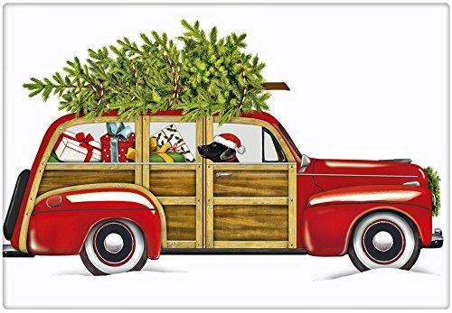 Red Woodie Christmas Wagon 100 Cotton Flour Sack Dish Tea Towel - Mary Lake Thompson 30 x 30