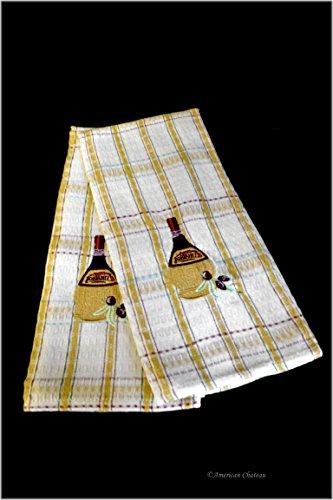 Set 2 Chianti Wine Design White Red Cotton-Polyester Kitchen Tea Dish Towels
