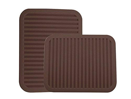 BIG SALES - Silicone Pot Holder Trivet Mat - Waterproof Heat Insulation Non-Slip Tableware Pad Coasters - 9 x 12 - 2 set Coffee - 2 set
