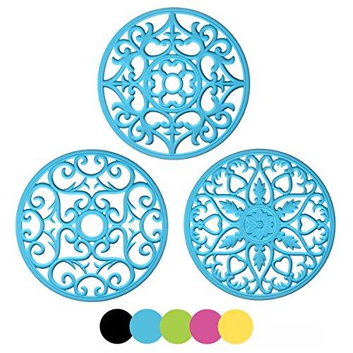 MEFAN 3 Set Silicone Multi-Use Intricately Carved Trivet Mat - Flexible Durable Non Slip Blue