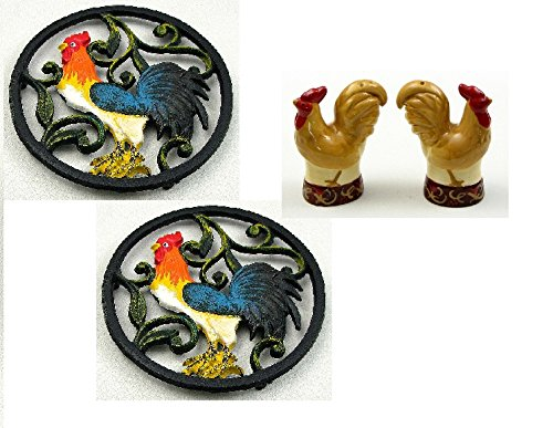 Colorful Rooster Trivets and Salt and Pepper Shaker Set Combo