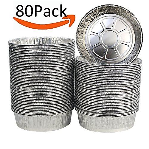 BAKHUK 80Pcs 55 Disposable Thick Aluminum Foil Tart Pans Pie Pans