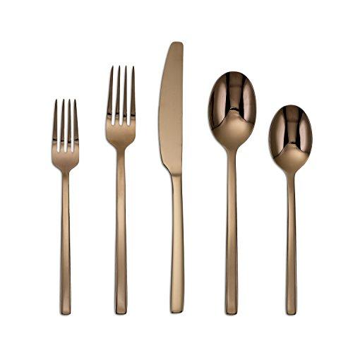 Cambridge Silversmiths 20 Piece Beacon Flatware Set Copper MirrorRose Gold Service for 4