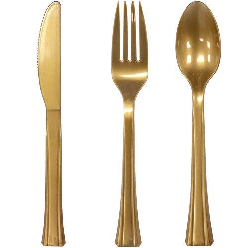 Lillian Plastic Combo Cutlery Bag Gold 24-Count