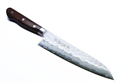 Yoshihiro VG-10 Damascus Santoku Multipurpose Japanese Chef Knife 7 Western Style Mahogany Handle