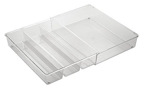 InterDesign Linus Expandable Kitchen Drawer Organizer for Silverware Spatulas Gadgets - 16 x 12 x 3 Clear