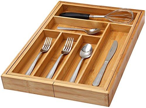 YBM Home Kitchen 6-compartment Kitchen Utensil Flatware Cutlery Drawer Organizer Tray Size 18lx12wx2h 341