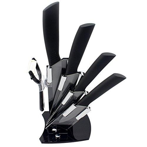 Ceramic Knives Ceramic Knife Set --6 Include a Peeler a 3 Pairing Knife 4 Slicing Knife a 5 Santoku Knife a 6 Chef Knife and an Acrylic Knife Block Holder