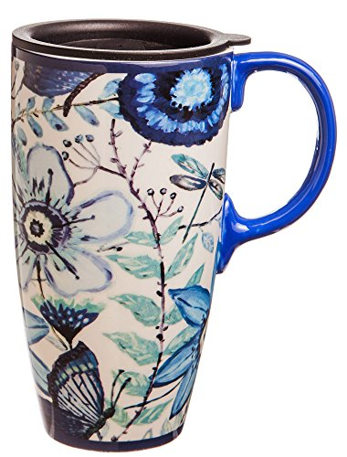 Shades of Indigo Flowers and Butterflies Ceramic Travel Coffee Mug 17oz