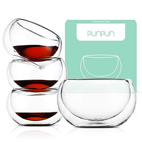 PunPun Tea cups Set of 4-Double Wall Borosilicate Glass-Espresso Cups Set-Heatproof Insulating-Teacups glass-27oz-Demitasse Gift Box-Hand Made-Lead free