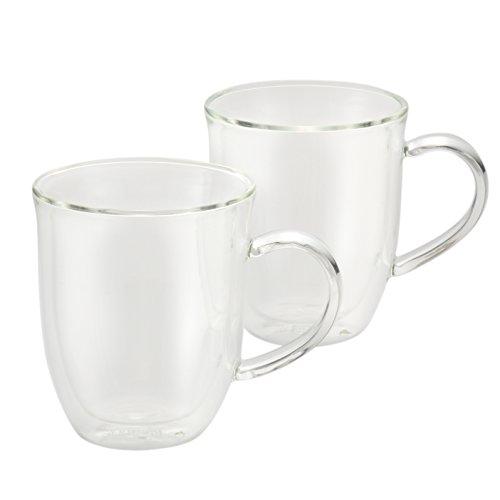 BonJour Coffee Insulated Borosilicate Glass Latte Cups 2-Piece Set 12-Ounces Each