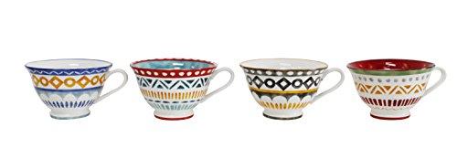 Euro Ceramica Amalfi Latte Cup Set of 4 Mix Color