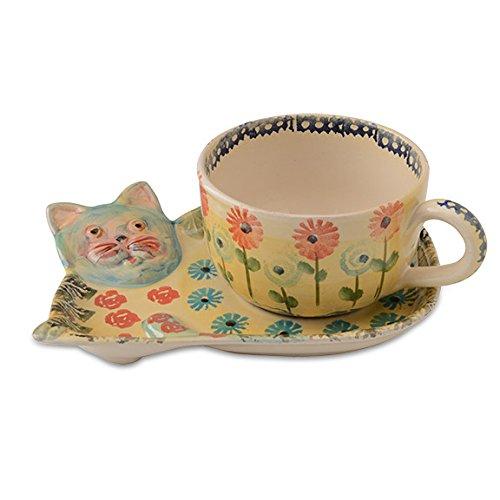 Festa Cat Latte Cup and Saucer - Italian Dinnerware - Handmade in Italy