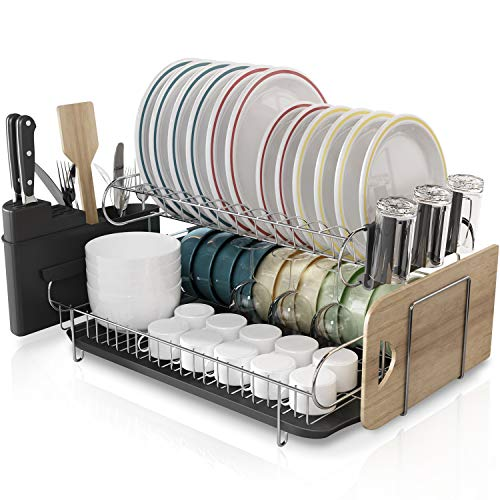 Kitchen Dish Rack Boosiny 2 Tier 304 Stainless Steel Large Dish Drying Rack with Drainboard Set Utensil Holder Dish Drainer Cutting Board Holder and Dish Racks for Counter
