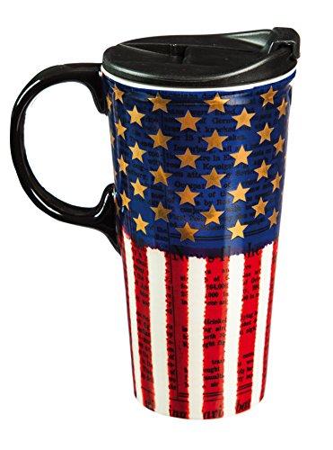 Cypress Home Ceramic Americana Travel Coffee Mug 17 ounces