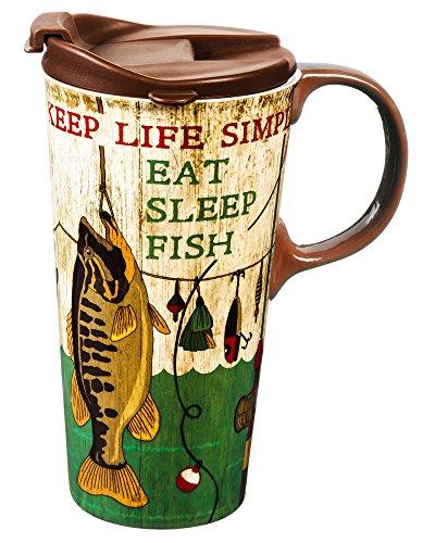 Cypress Home Eat Sleep Fish Ceramic Travel Coffee Mug 17 ounces