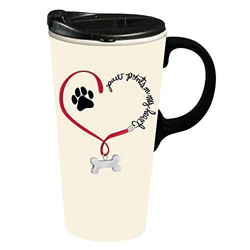 Cypress Home Paw Prints Dog Ceramic Travel Coffee Mug 17 ounces