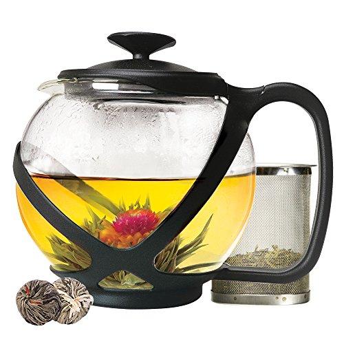 Primula Tempo Glass Teapot with 2 Flowering Teas 40 oz Black