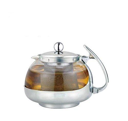 Stainless Steel Glass TEA POT Teapot w Stainless steel Strainer filter 700ML