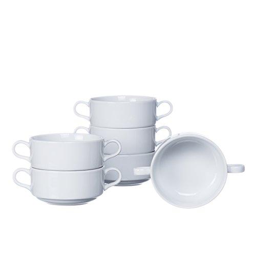 Stackable SoupCereal BOWLS with Handles 4-piece 6-piece 12-piece Sets 108 Oz White Porcelain Restaurant&Hotel Quality 12