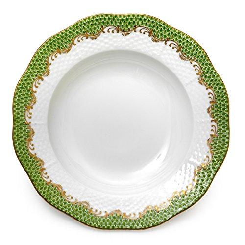 Herend Rim Soup Plate Green Fishnet