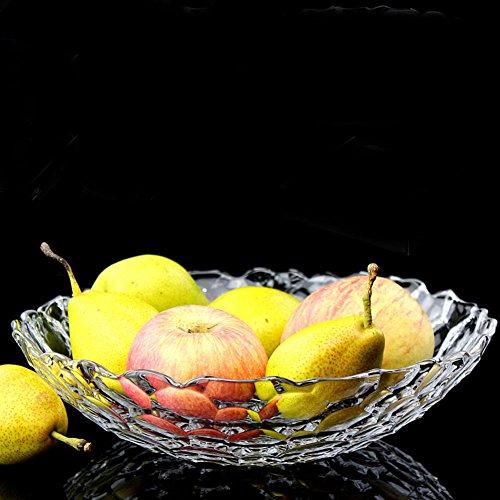 Crystal glass fruit bowl round large fruit fight Living room creative fruit bowl-B