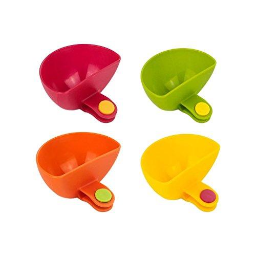 Dip ClipsSet of 4 Amytalk Colorful Plate Grab Clip-on Dip Holders Tomato Sauce Salt Vinegar Sugar Flavor Spices Dip Bowl Party Ware