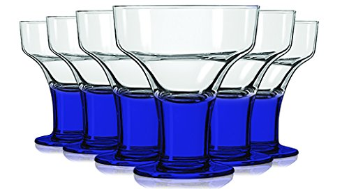 Libbey Cobalt Blue MargaritaDessert Glasses with Colored Accent - 12 oz Set of 6- Additional Vibrant Colors Available by TableTop King