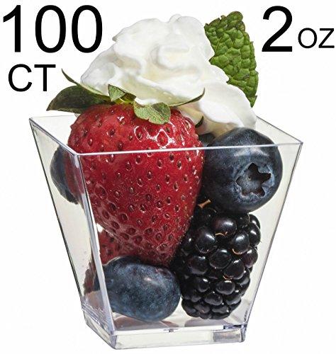 Zappy 100 Ct Elegant Square Mini Cube 2oz Clear Tasting Sample Shot Glasses 100 Ct Dessert Cups Disposable Plastic