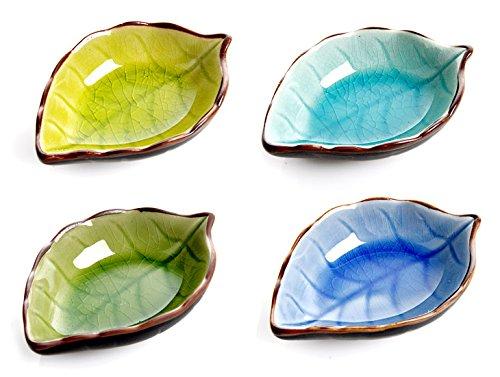 Aexge Appetizer Plates Ceramic Leaf Shape Porcelain Saucers Bowl Sauce Dishes Sushi Dinnerware