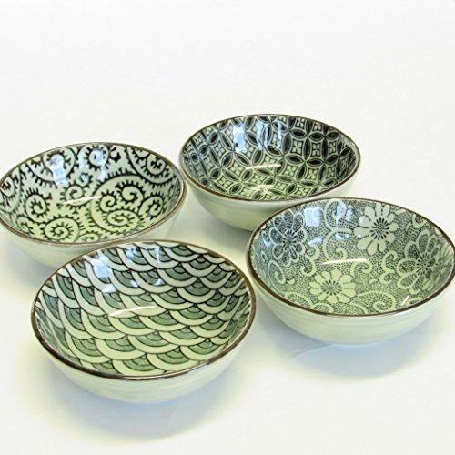 Japanese 4 pc dipping sauce bowl Indigo Textiles Gift boxed