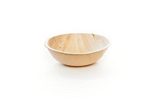 Leafware 35 Palm Leaf Round Bowls- 25 Pack -Disposable Single Bite Bowls - Sauce Bowls - Natural